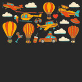 Vector doodle set of travel and transportation Car plane helicopter ballon ship. Hand drawn pictures Stock Photos