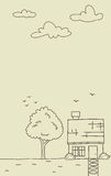 Vector doodle small house with tree and cloud in outline style Royalty Free Stock Images
