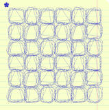 Vector doodle squares on lined notebook paper Stock Photo