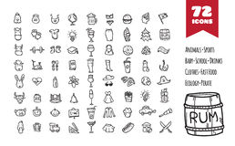 Vector doodle style big icons set. Stock Images
