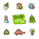 Vector doodle style eco set. Cute hand drawn collection of ecological icons Royalty Free Stock Photo