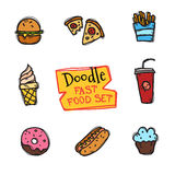 Vector doodle style fast food set. Cute hand drawn collection of snack icons Royalty Free Stock Photo