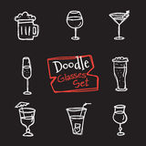 Vector doodle style glasses icons set. Hand drawn collection of drinks Royalty Free Stock Image