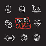 Vector doodle style line icons sports set. Cute hand drawn collection of sport objects Stock Photography