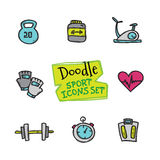 Vector doodle style line icons sports set. Cute hand drawn collection of sport objects Stock Image