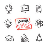 Vector doodle style school set. Cute hand drawn collection of education objects Royalty Free Stock Photo