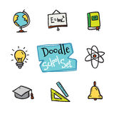 Vector doodle style school set. Cute hand drawn collection of education objects Royalty Free Stock Photography