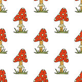 Vector doodle style seamless pattern with forest mushrooms. Royalty Free Stock Image