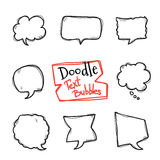 Vector doodle style text bubbles set. Cute hand drawn collection of chat clouds Royalty Free Stock Photos
