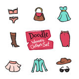Vector doodle style women clothes icons set. Hand drawn collection of fashion objects Royalty Free Stock Photos