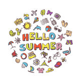 Vector doodle summer icons set. Stock cartoon signs for design Stock Images