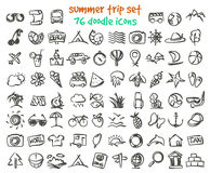 Vector doodle summer trip icons set Royalty Free Stock Photos