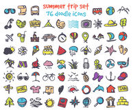 Vector doodle summer trip icons set Royalty Free Stock Images