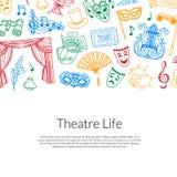 Vector doodle theatre background illustration. Vector banner and poster doodle theatre elements background illustration with place for text Stock Image