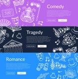 Vector doodle theatre elements banners illustration. Vector doodle theatre elements horizontal web banners or posters illustration Royalty Free Stock Image
