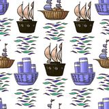 Vector doodle various Ships children illustration seamless pattern in brownv and blue colours isolated on white background stock illustration