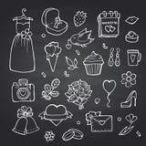 Vector doodle wedding elements set on black chalkboard background illustration. Wedding chalkboard doodle element, flower and shoes, bell and envelope royalty free illustration