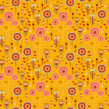 Vector doodle wild flowers seamless pattern Royalty Free Stock Photography