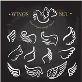 Vector doodle wings set. angel wings collection Stock Image