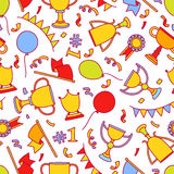 Vector doodle winner seamless pattern. Hand drawn colorful objec Stock Photos