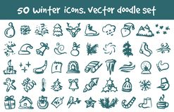 Vector doodle winter icons set stock illustration