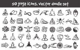 Vector doodle yoga icons set. Stock cartoon signs for design Stock Photos