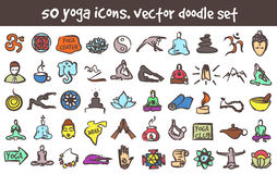 Vector doodle yoga icons set Royalty Free Stock Photography
