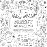Vector Doodles Autumn Forest Background. Stock Photos