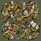 Vector doodles cartoon set of Diet food combinations of objects and elements Stock Photography
