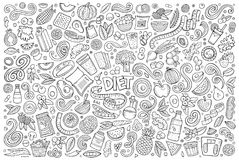 Vector doodles cartoon set of Diet food objects and elements. Line art vector hand drawn doodles cartoon set of Diet food objects and elements vector illustration
