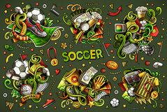 Vector doodles cartoon set of football combinations of objects Stock Photos