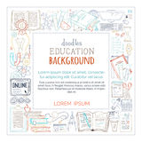 Vector doodles education square frame. Royalty Free Stock Image