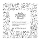 Vector Doodles Forest Frame. Royalty Free Stock Photos
