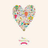 Vector doodles heart, valentine's day card. Kids, travel, enjoy. Life concept. Greeting card. Various travel vacation icons arranged in heart shape, childish Royalty Free Stock Images