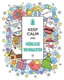 Vector doodles illustration Keep Calm and Merry Christmas with funny cartoon characters. Hand drawn. Line art. Merry Christmas! Vector doodles illustration Keep Royalty Free Stock Photo