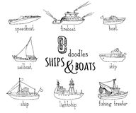 Vector doodles nautical vessel icons set. Lightship, fireboat, fishing trawler, speedboat, sailboat and motorboat. Black ship and boat contours  on white Royalty Free Stock Photography