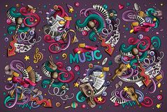 Vector doodles set of music combinations of objects. Colorful vector hand drawn doodles cartoon set of music combinations of objects and elements Royalty Free Stock Photography