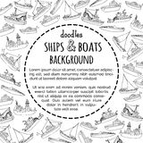 Vector doodles ships and boats background. Royalty Free Stock Photo