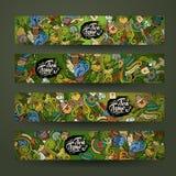Vector doodles tea time design banners Stock Photos