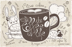 Vector doodles on a theme of coffee is life Stock Image