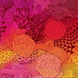 Vector doodling  background hand-drawn layout, waves background, tangled ornament, autumn colors Stock Image