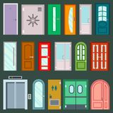 Vector doors design furniture elements doorway front entrance to house building in flat style doorstep illustration. Vector doors design furniture elements Royalty Free Stock Photo