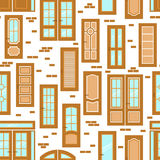 Vector doors design seamless pattern. Modern and classic flat enterance collection. Interior doorway illustration Royalty Free Stock Photo
