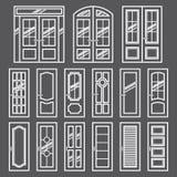 Vector doors design set. Modern and classic flat enterance collection. Interior doorway illustration. Elegant wood Stock Photo