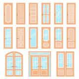 Vector doors design set. Modern and classic flat enterance collection. Interior doorway illustration. Elegant wood Royalty Free Stock Photos