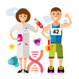 Vector Doping and sport concept. Flat style colorful Cartoon illustration. Royalty Free Stock Photography