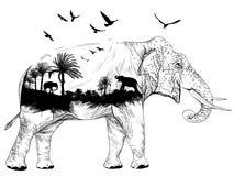 Vector Doppelbelichtung, Elefanten und Dschungel, Konzept der wild lebenden Tiere lizenzfreie abbildung