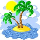 vector dos palmeras en una isla en el océano Foto de archivo libre de regalías