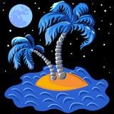 vector dos palmeras en una isla en la medianoche Imagen de archivo