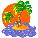 vector dos palmeras en una isla en la puesta del sol Fotografía de archivo libre de regalías